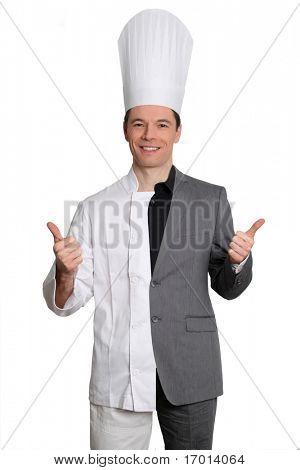 Chef y empresario sobre fondo blanco