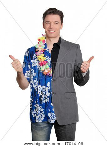 Hombre de negocios feliz y ganador de la lotería alegre