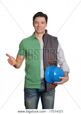 Construction supervisor and happy customer