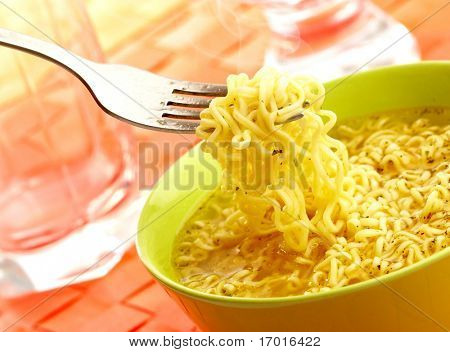 Hot and tasty noodles on a plug.