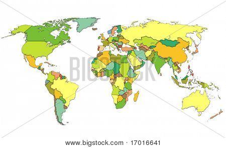 World map with all countries. white background
