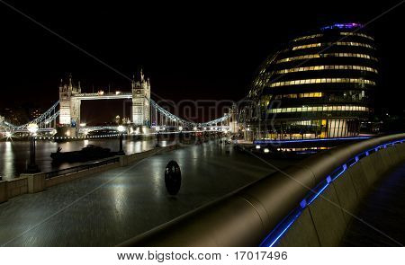 London Tower Bridge and city hall at night