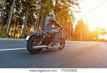 Back view of motorcycle driver