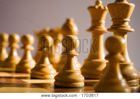 White Staunton Chess Pieces