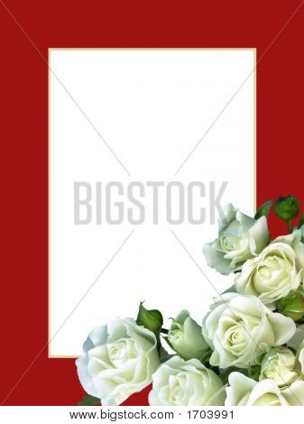 White Roses On Red Frame - Vertical