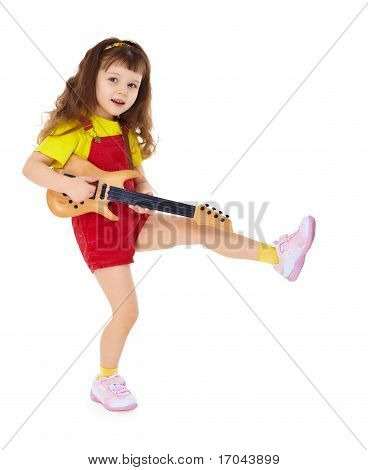 Little Girl With Toy Guitar On White Background