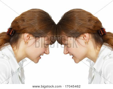 Woman Facing Her Forehead With Herself