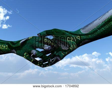Micro-Chip-Handschlag