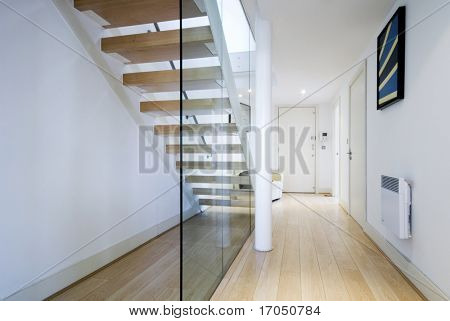 entrance hall with staircase and glass wall