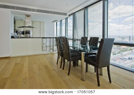 open plan kitchen with a dining area