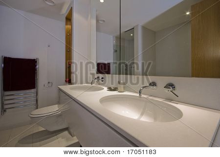 contemporary family bathroom with double hand wash basin