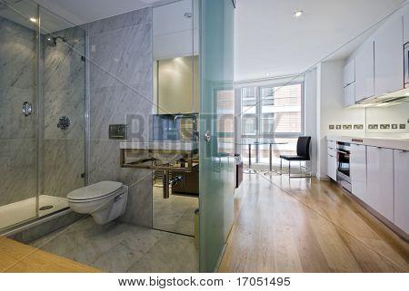 una vista de la cocina, comedor y cuarto de baño de un estudio