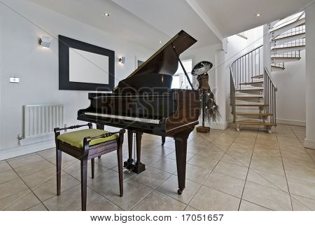 hall with a piano