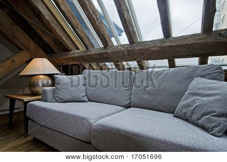 detail shot of a living room in loft apartment