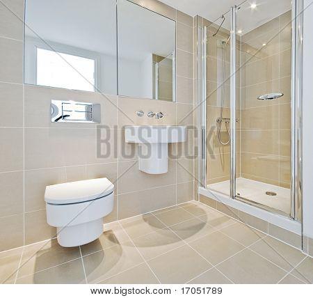 modern en suite bathroom with shower corner
