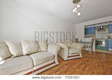 open plan living room with massive sofa and dining area