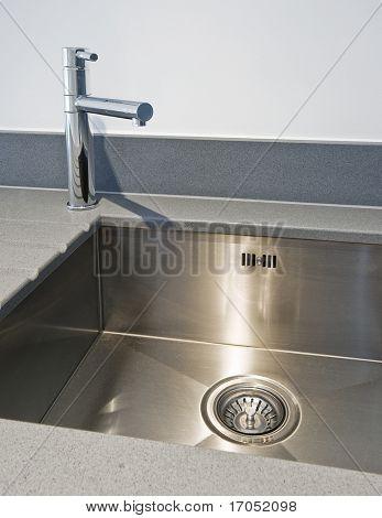 modern kitchen sink with stainless steel basin