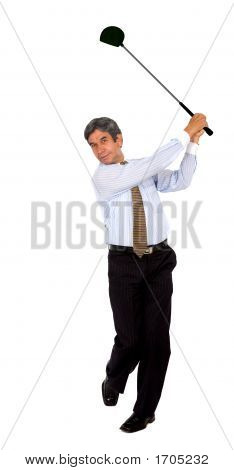 Business Man Swinging A Golf Club