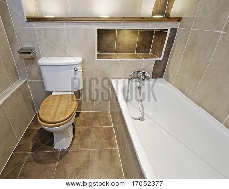 stunning luxury bathroom with brown ceramic tiles and wooden shelves with built spotlights