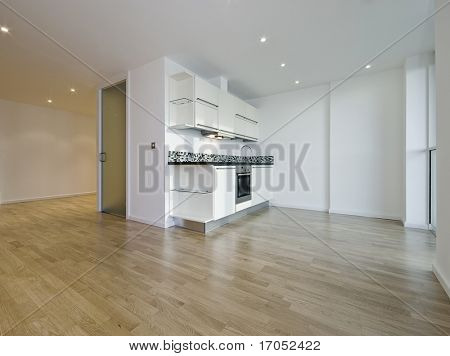 modern luxury open plan studio apartment with wooden floor throughout