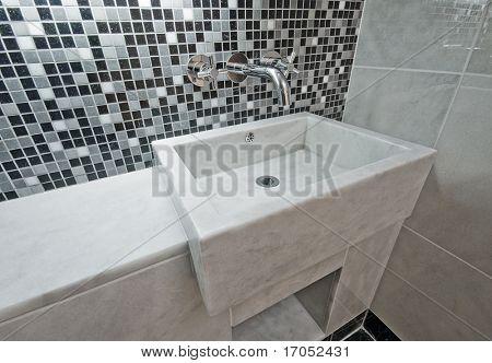 zeitgenössisches Design Marmor Hand waschen Becken und Mosaik-Fliesen