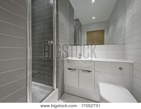 modern en-suite bathroom with shower cabin and floor to ceiling tiles