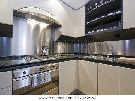 modern luxury domestic kitchen with granite worktop