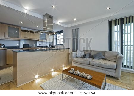 modern open plan kitchen with breakfast bar