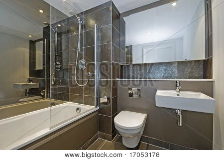 modern luxury bathroom with dark brown floor to ceiling tiles