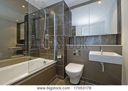 modern luxury bathroom with dark brown floor to ceiling tiles