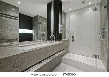 luxury modern en-suite bathroom with marble finish