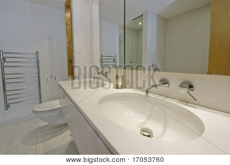 double hand wash basin in a large family bathroom