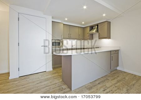 modern open plan kitchen with smart counter and built in electric appliances