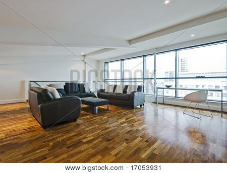 living room of a penthouse placed in loft