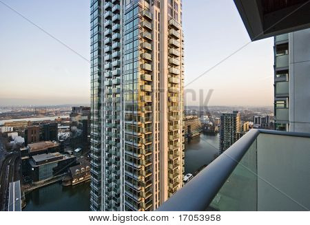 view over docks of London and buildings from a high rise tower
