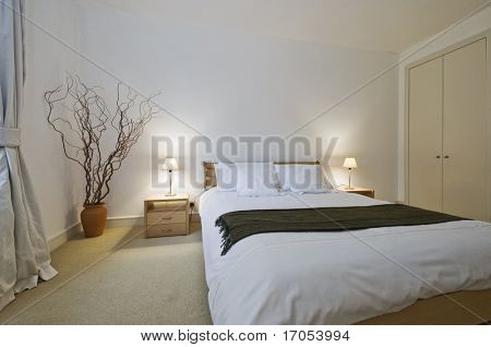 modern bedroom of a generous size with built in wardrobe