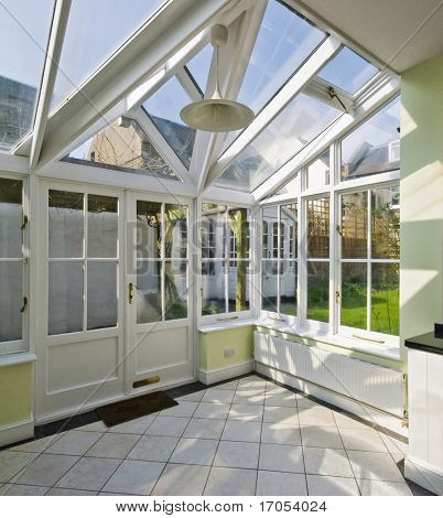modern winter garden with double glazed window construction