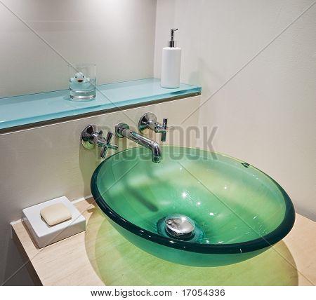 green tempered glass bowl hand wash basin