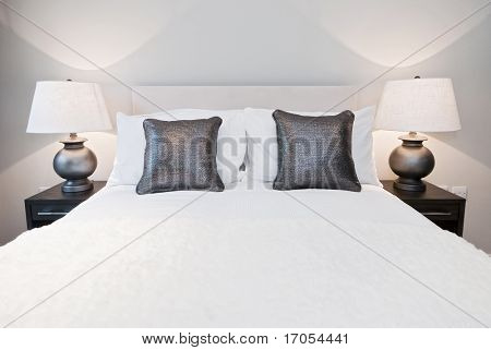 nicely done double bed with metallic effect cushions and other accessory