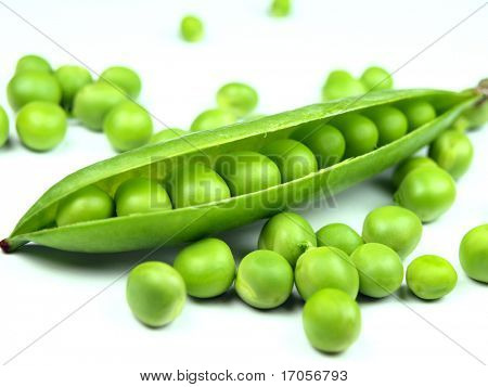 fresh peas on white background
