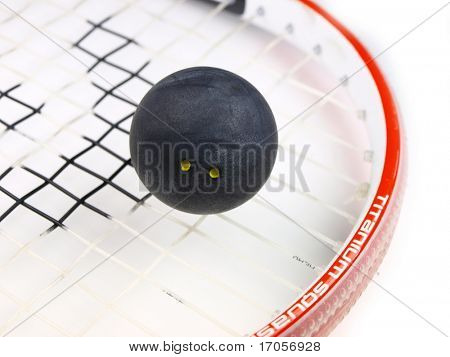 Squash racket with ball