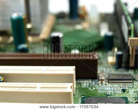 closeup of a computer main board