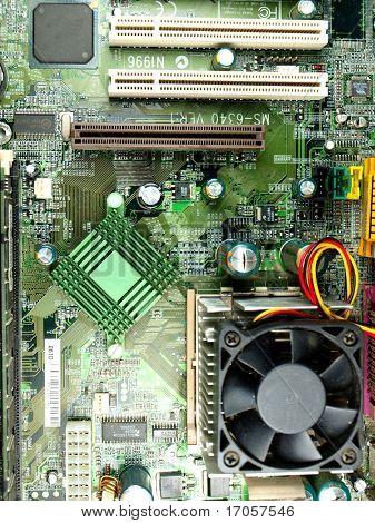 closeup of a computer mainboard