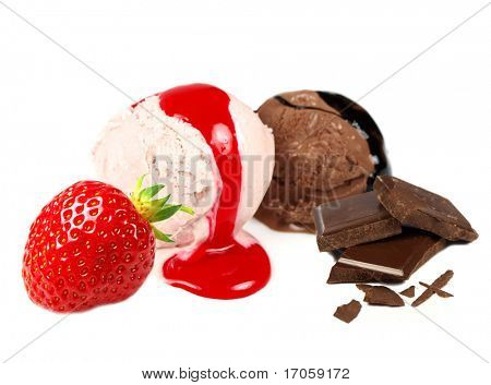 chocolate and strawberry ice creams