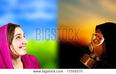 Ideal world versus apocalypse scene, portrait of two girls
