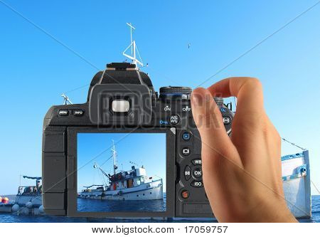 Photographing fish ship