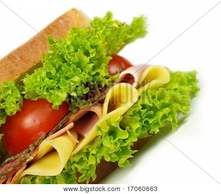 detail of a sandwich with ham and salad