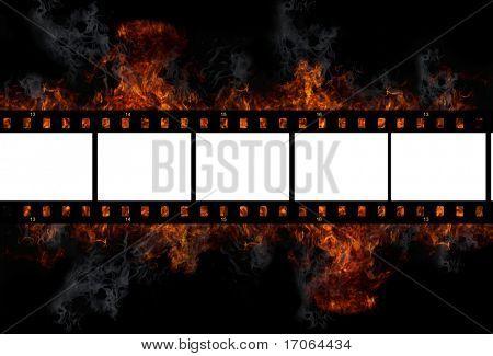 Burning old film frame