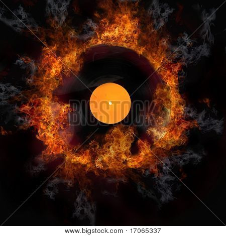 Burning vinyl disc-Hot hits