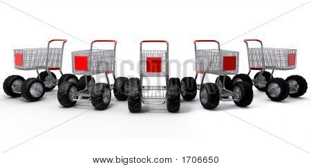 Shopping Carts Group Isolated Turbo
